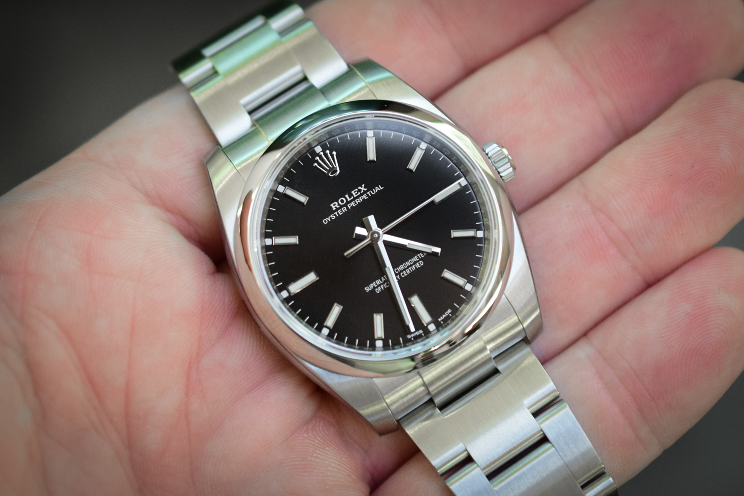 Hands On Rolex Oyster Perpetual Black White Dial Video